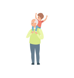 Grandpa carrying little grandson on his shoulders vector