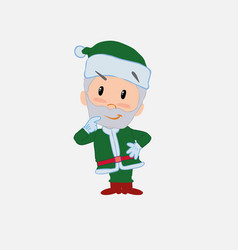 Green santa claus thoughtful and happy vector