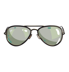 Hand drawn aviator sunglasses in metal frame vector