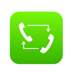 handsets with arrows icon digital green vector image