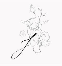 Handwritten line drawing floral logo monogram i vector
