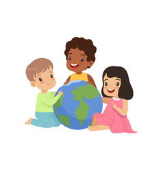 happy multicultural little kids sitting around the vector image