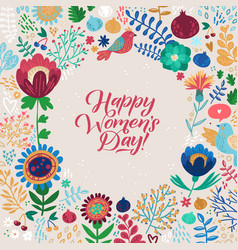 happy womans day calligraphy design on square vector image