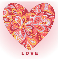 Heart ethnic doodle love valentines day drawing vector
