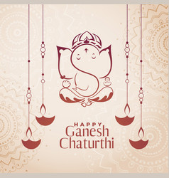 Hindu culture festival ganesh chaturthi vector
