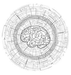 human brain on technical circular background vector image