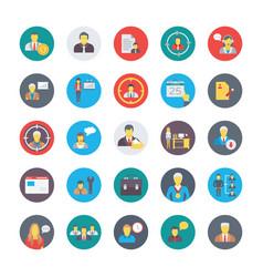 Human resources flat circular icons set 1 vector