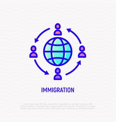 Immigration line icon people moving around globe vector