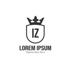 Initial iz logo template with modern frame vector