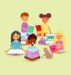kids reading in circle on a pile books with cat vector image
