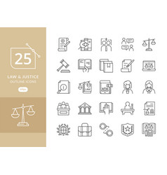 law and justice icons vector image