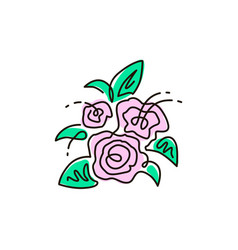 line icon bouquet of flowers top view vector image