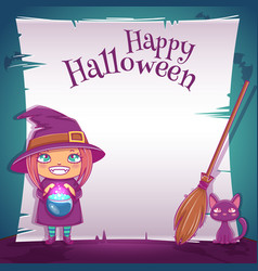 Little girl in costume of witch with black kitten vector