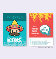mexican menu template creative brochure set vector image