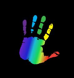 Multicolored silhouette human hand print vector