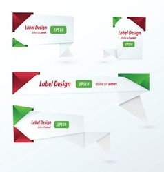 Origami 2 color style label set Christmas style vector