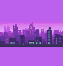pixel art neon night city with buildings panorama vector image