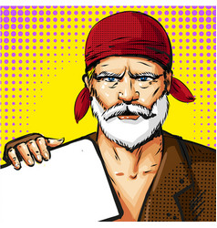 Pop art senior man wearing red bandana vector