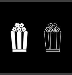 popcorn icon set white color flat style simple vector image