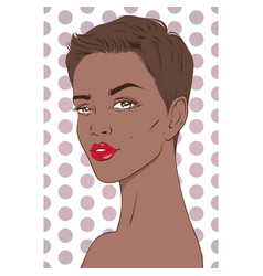 Portrait of beautiful african american woman with vector