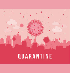 Quarantine cityscape silhouette with flying covid vector