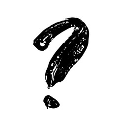 Question mark handwritten by dry brush rough vector