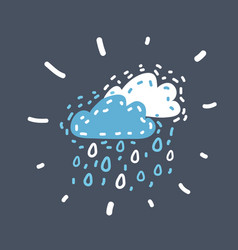 Rain icon on dark vector