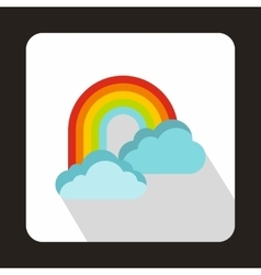 Rainbow and clouds icon flat style vector image