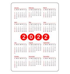 Red vertical pocket calendar on 2022 year vector
