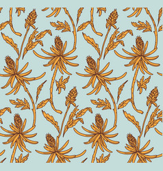 retro floral pattern blue yellow flower seamless vector image