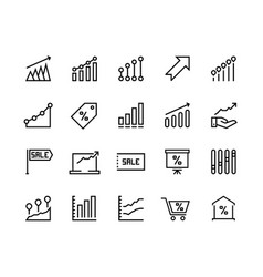 Sale graph line icons marketing business progress vector