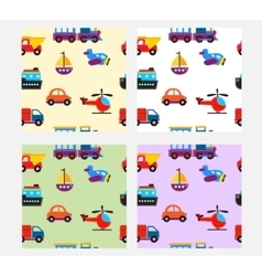 seamless pattern with cute baby transport toys vector image