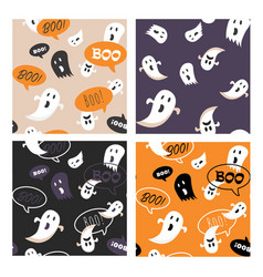 set halloween seamless pattern set for poster vector image