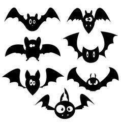 set of bats for halloween collection of black vector image