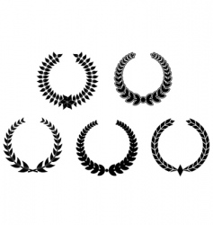 set of laurel wreaths vector image