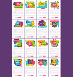 Set of promo badges color labels exclusive premium vector