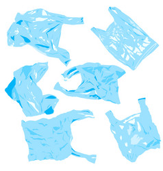 Set plastik cellophane bags reuse recycle vector