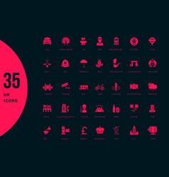 set simple icons united kingdom vector image