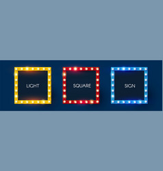 Shining retro square light sing set vintage vector