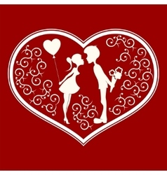 Silhouette of heart with a couple inside vector