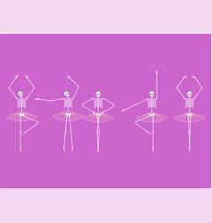Skeleton ballerina set skull and bones ballet vector