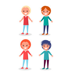 smiling preschool boys in clothes and hairstyles vector image