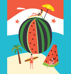 summer banner with watermelon and people vector image