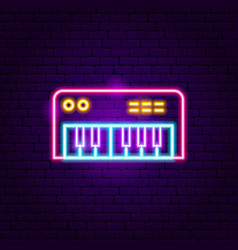 synthesizer neon sign vector image