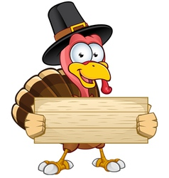 Turkey Mascot Holding Wooden Sign vector image