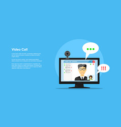 Video call concept vector