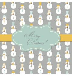 Vintage Christmas Card - Retro Snowman vector image
