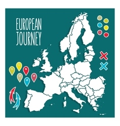 Vintage Hand drawn Europe travel map with pins vector image
