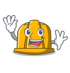 waving construction helmet character cartoon vector image