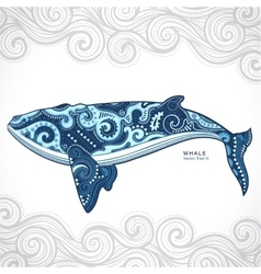 Whale with tribal ornaments vector